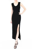 Night Aphrodite Maxi Dress With Cross Back - Black