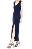 Night Aphrodite Maxi Dress With Cross Back - Dark Blue