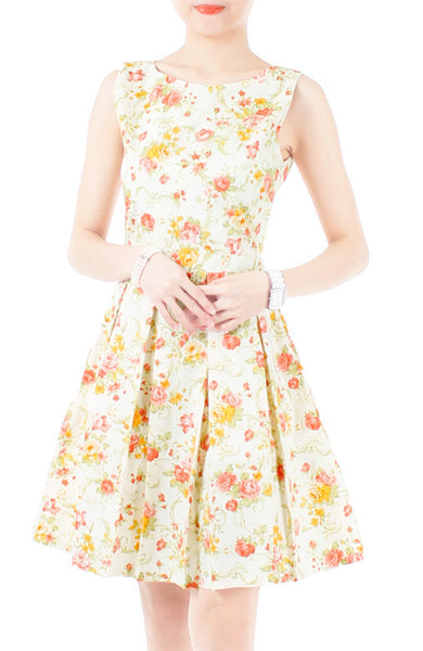 Oriental Rose Blooms Flare Dress