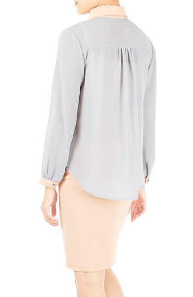 Pastel Perfection Long Sleeve Shirt - Peach & Lemon