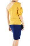 Peek-a-boo One Shoulder Top - Yellow