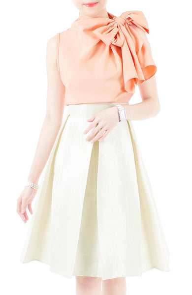 Posh Oversized Bow Blouse - Pastel Peach