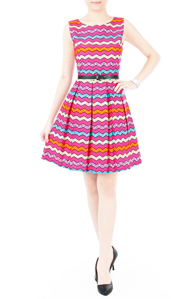 Christmas Chevron Patchwork Flare Dress - Hot Pink
