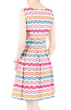 Christmas Chevron Patchwork Flare Dress - White