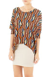 Psychedelic Aztec Dip Back Blouse - Orange