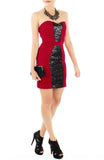 STAR Sequin Bandeau Party Dress - Red