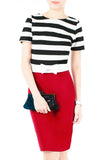 Stripe My Heart Cropped Top With Bow - Black