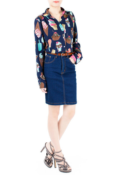Sundae Funday Long Sleeve Blouse - Blue