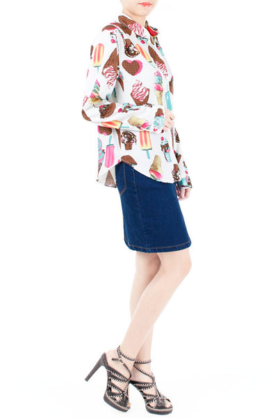 Sundae Funday Long Sleeve Blouse - Vanilla