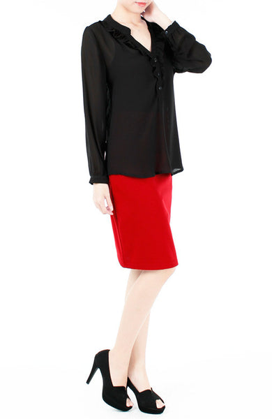 Sweet Crepe Long Sleeve Blouse - Black