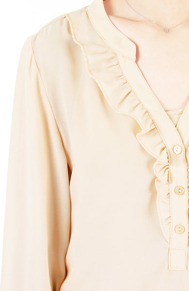 Sweet Crepe Long Sleeve Blouse - Champagne