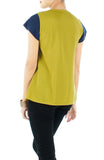 Swing Blouse With Contrast Detail	 - Chartreuse