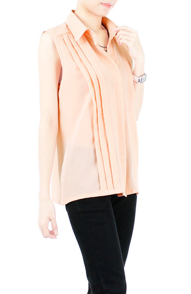Test of Timelessness Pintuck Blouse - Peach
