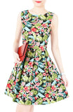 Tropical Island Palm Flare Dress
