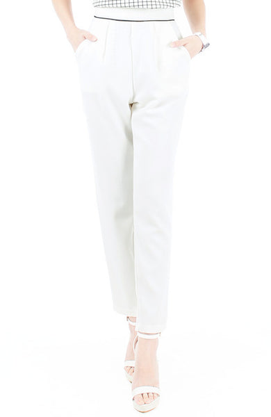 Walking On Thin Line Pleated Trousers - White