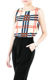 Window Plaid Sleeveless Blouse - Cream
