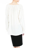 Wonder Ruche Two-Way Long Sleeve Top - White