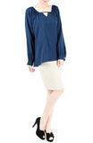 Wonder Ruche Two-Way Long Sleeve Top - Dark Blue