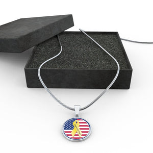 Support Our Troops Luxury Necklace with Adjustable Snake Chain in Surgical Stainless Steel and Shatterproof Glass.  Made In U.S.A.!