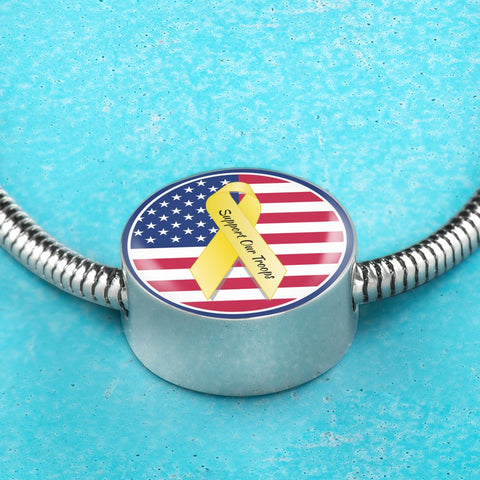 Support Our Troops Luxury Bracelet / Charm Bracelet Made In The U.S.A. of Stainless Steel and Shatterproof Glass.