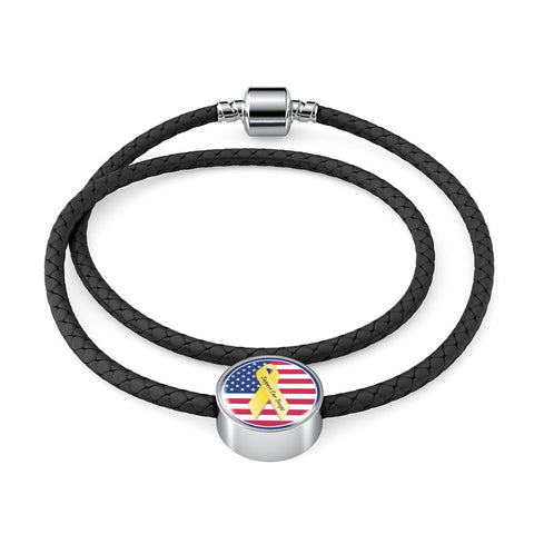 Support Our Troops Woven Double-Braided Real-Leather Charm Bracelet made in the U.S.A. of stainless steel and shatterproof glass.