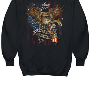 This We'll Defend Patriotic Strong & Free Thanks To Armed Forces Hoodie