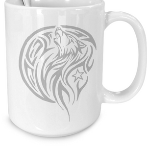 Tribal Wolf Howling At The Moon by Paint By James 15oz Mug