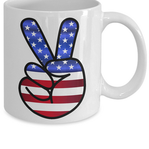 US Flag Peace Hand Sign Mug