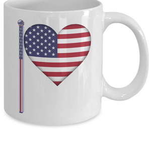 US Heart Flag Pole Mug