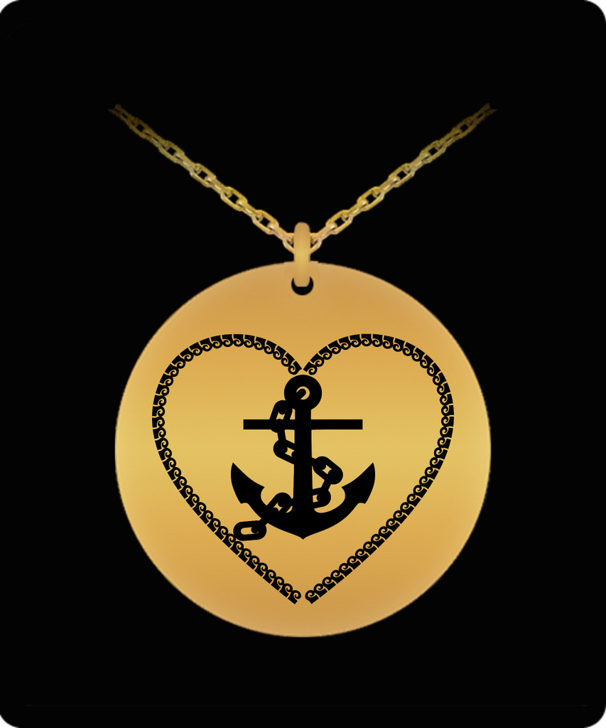 Laser Engraved 18K Gold Plated or Stainless Steel Sea Heart Chain and Anchor Necklace