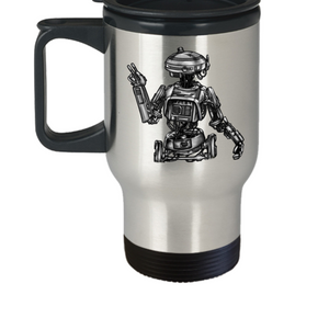 Artists Concept of L3-37 Star Wars Robot (Hand Sketched and Duplicated) Travel Mug by Award Winning Paint By James / Tattoos By James in the Paint By James Shop at Our World Mall!