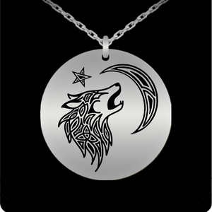 Tribal Wolf Laser Engraved Round Pendant Necklace - Stainless Steel