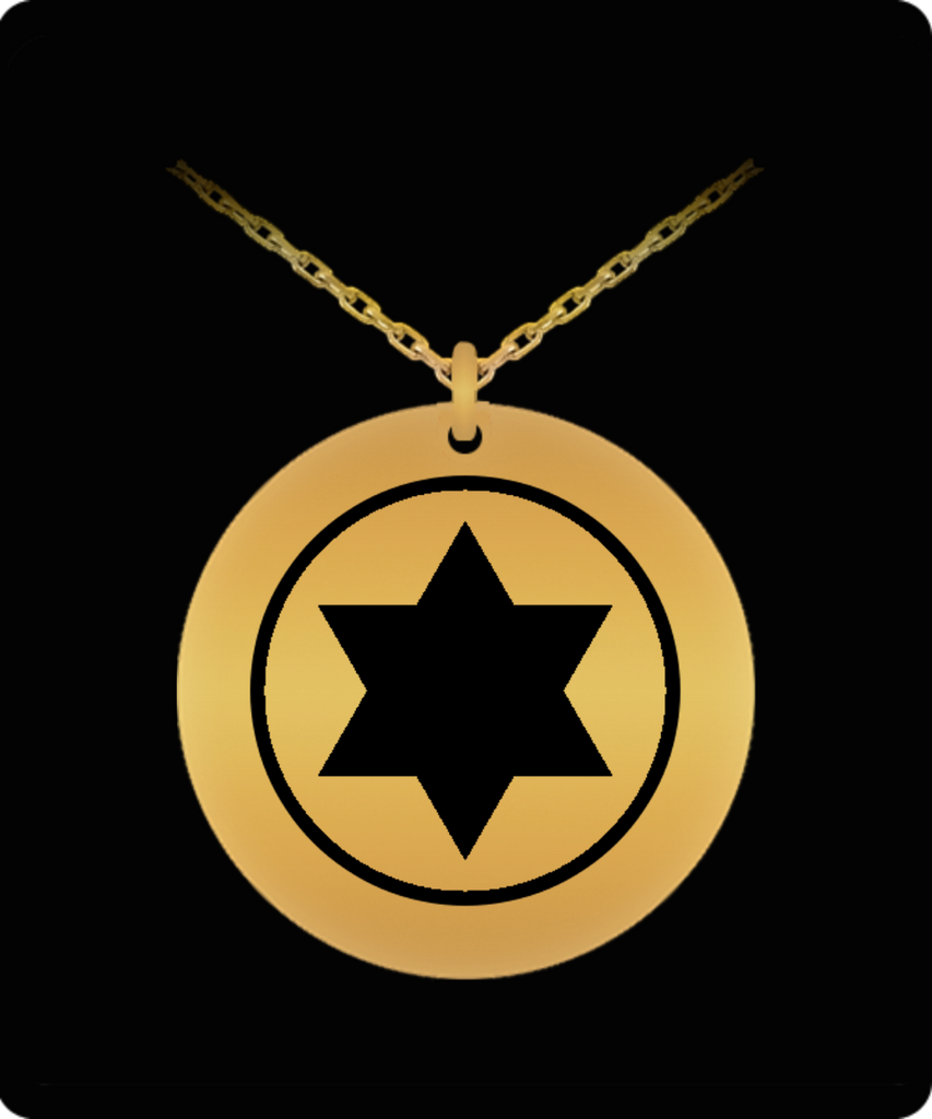 Laser Engraved 18K Gold Plated or Stainless Steel Israeli Air Force IAF Roundel Necklace