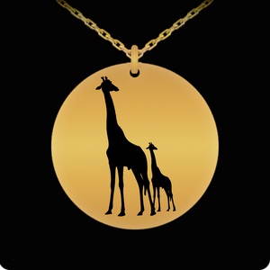 Laser Engraved 18K Gold Plated or Stainless Steel Giraffe and Baby Necklace
