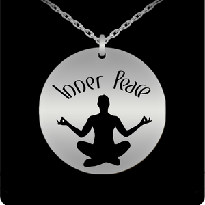 Laser Engraved 18K Gold Plated or Stainless Steel Inner Peace Meditation Necklace