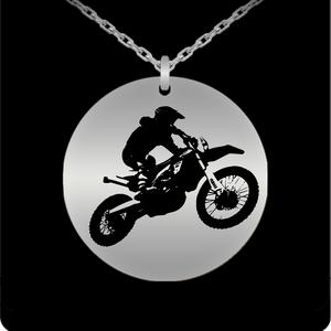Laser Engraved 18K Gold Plated or Stainless Steel Motorcycle Dirt Bike Necklace