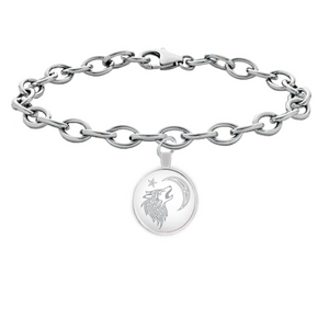 Tribal Wolf Round Pendant Bracelet - Stainless Steel