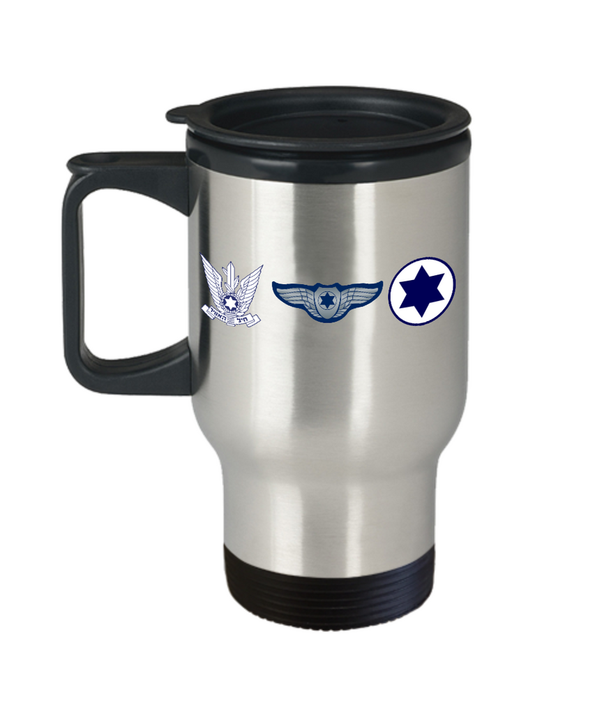 Israeli Air Force Emblems 14 oz Steel HOT COLD Travel Mug Gift by Air Base Concepts and Our World Mall