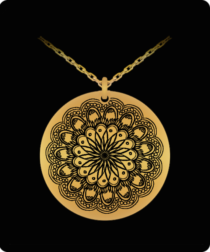 Laser Engraved 18K Gold Plated or Stainless Steel Flower Design 2 Necklace