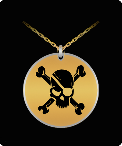 Laser Engraved 18K Gold Plated or Stainless Steel Pirate Skull & Crossbones Necklace