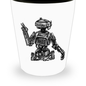 Artists Concept of L3-37 Star Wars Robot (Hand Sketched and Duplicated) Shot Glass by Award Winning Paint By James / Tattoos By James in the Paint By James Shop at Our World Mall!