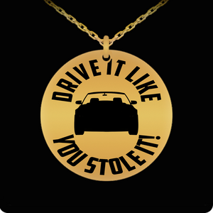 Laser Engraved 18K Gold Plated or Stainless Steel Ford Mustang Drive It Like You Stole It Necklace