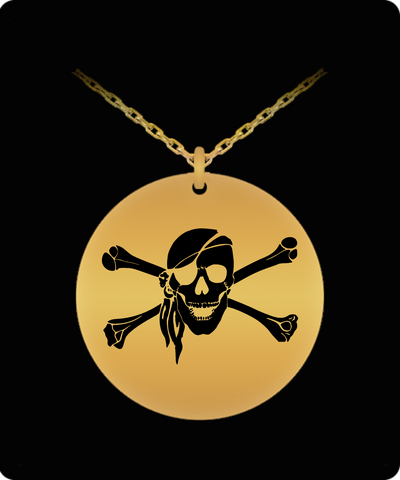 Laser Engraved 18K Gold Plated or Stainless Steel Pirate Skull & Crossbones Necklace 2