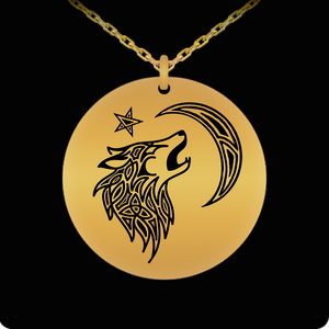 Tribal Wolf Laser Engraved Round Pendant Necklace - 18K Gold Plated