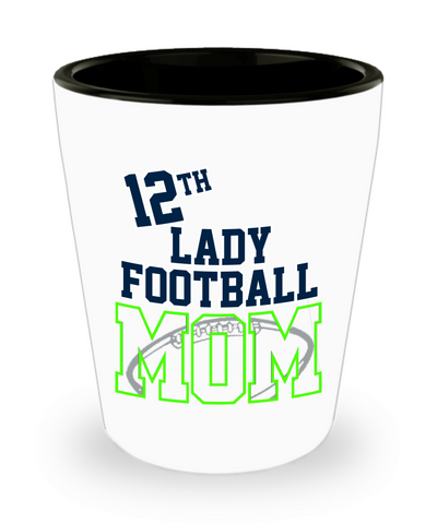 12th Lady Football Mom Shot Glass