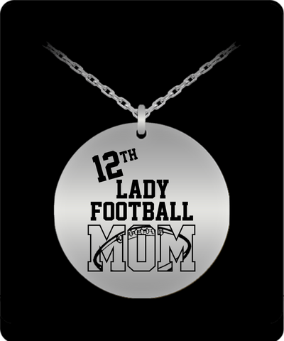 Laser Engraved 18K Gold Plated or Stainless Steel 12th Lady Football Mom Necklace