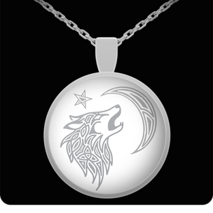 Tribal Wolf Round Pendant Necklace In Stainless Steel