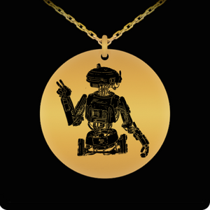 Artists Concept of L3-37 Star Wars Robot hand drawn by Award Winning Paint By James Gold or Stainless Engraved Necklace