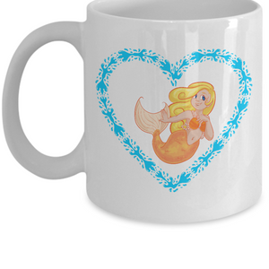 Mermaid Blonde with Aqua Heart Mug