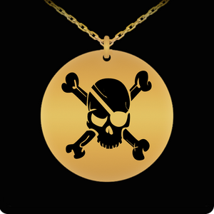 Laser Engraved 18K Gold Plated Pirate Skull & Crossbones Necklace